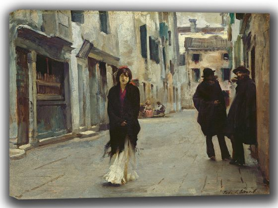 Sargent, John Singer: A Street Scene in Venice. Fine Art Canvas. Sizes: A4/A3/A2/A1 (002381)